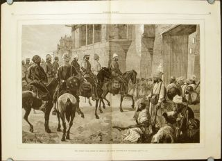 The Afghan War - The Fourth Goorkhas Marching through the Bazar, Jelalabad. WITH Execution of a Ghazi, or Mohammedan Fanatic, at the Peshawru Gate, Jelalabad. AND The Afghan War - Entry of General Sir Samuel Browne into Jelalabad. AFGHANISTAN - SECOND ANGLO-AFGHAN WAR.