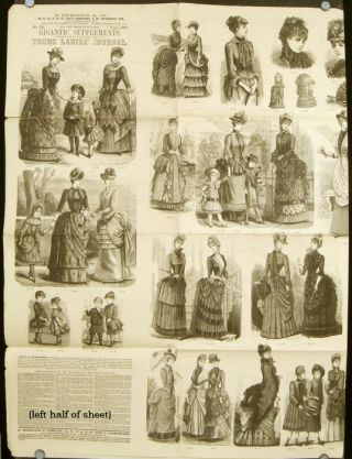 "Supplement to The Young Ladies' Journal, June 1884. No. 151. 1880s FASHION - ""GIGANTIC SUPPLEMENT"""