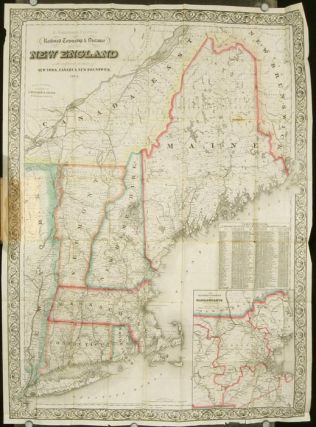 Railroad, Township & Distance Map of New England With Adjacent Portions of New York, Canada and...