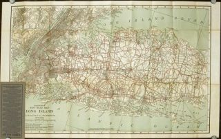Hammond's New Road Map of Long Island (New York) Special Features Quality of Roads, Road Names, City and Village Street Names, Interurban Electric Lines.