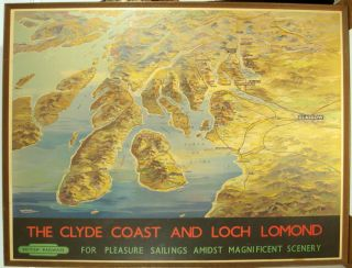The Clyde Coast and Loch Lomond. British Railways for Pleasure Sailings Amidst Magnificent...