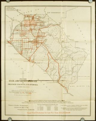 Board of Supervisor's Map of County, Showing Particularly the Paved Highways of Orange County...