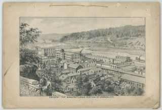 """The West Shore August, 1887 COMPLETE WITH FOLDOUT PANORAMA """"Oregon - Falls of the Willamette River at Oregon City."""""""