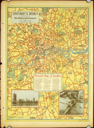Pictorial Map of London. Everybody's Weekly Section of the Philadelphia Inquirer. Tuesday, April...