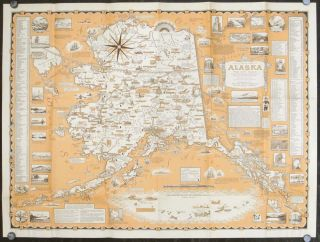 "A Pictorial Map of Alaska the 49th State. In Aleut ""Alaska"" means ""Great Country"" Population in 1958 about 215,000. ALASKA - ERNEST DUDLEY CHASE."