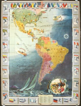 From Captain Silver On Board the Seahound. [Map title: Captain Silver's Sea Chart.]. NORTH, SOUTH AMERICA / UNITED NATIONS.