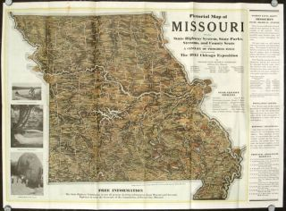A Pictorial Map of Missouri Showing State Highway Systems, State Parks, Streams, and County...