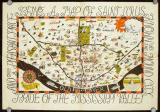 Cartoon Map of St. Louis. Map title: Being a Map of Saint Louis Known as the Mound City Pride of...