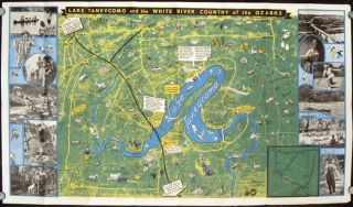 Pictorial Map White River Country of the Missouri-Arkansas Ozarks. Map title: Lake Taneycomo and...