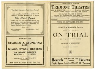 "Tremont Theatre Boston ""On Trial"" (Elmer Rice)."