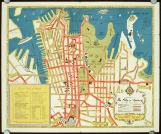 Sydney Tourist Map. Map title: Guide Map of The City of Sydney Including King's Cross. AUSTRALIA...