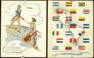 Hotel Internacional Panama, R. P. PAIR OF MENUS. NORTH AND SOUTH AMERICA