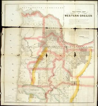 Sectional Map of Western Oregon. [LATE 1800s]. OREGON - EARLY SETTLEMENT AND LAND DEVELOPMENT SALES