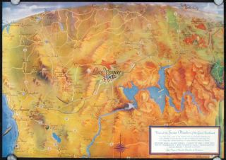 Boulder Dam and Las Vegas Nevada - Center of the Scenic Southwest. Map title: Visit All the...