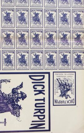 Dick Turpin Finest Impregnated Paraffin Matches. UNCUT SHEET.