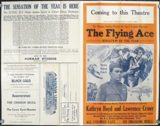 The Flying Ace--ALL COLORED CAST--Six Smashing Reels. MOVIES / AFRICAN AMERICANA.