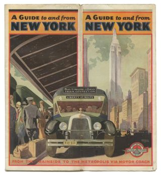 A Guide to and from New York. From the Trainside to the Metropolis via Motor Coach. Map title: Into the Heart of New York City.