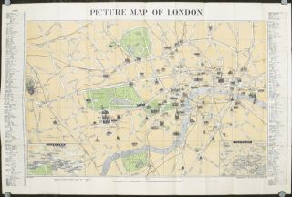 """Geographia"" Picture Map of London. (Map title: Picture Map of London). ENGLAND - LONDON"