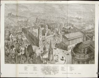 Birds-Eye View of Birmingham in 1886. ENGLAND - BIRMINGHAM