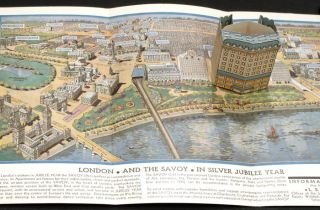 Savoy Hotel London. Map title: London and The Savoy in Silver Jubilee Year. ENGLAND - LONDON -...