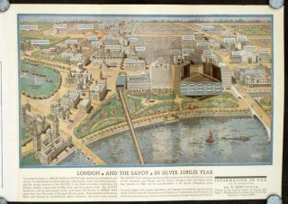Savoy Hotel London. Map title: London and The Savoy in Silver Jubilee Year.