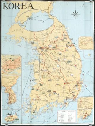 Tourist Map of Korea. Map title: Pictorial Guide to Korea. KOREA