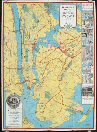New York World's Fair At A Glance. Map title: Automobile Routes to the New York World's Fair. NEW...