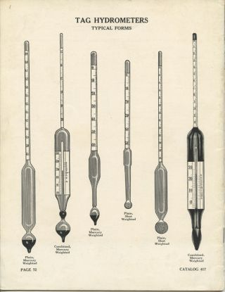 The Tag Laboratory Thermometer and Hydrometer. Catalog 417. SCIENTIFIC TRADE CATALOG