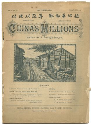 China's Millions. September and October 1892. CHINA - MISSIONARIES, J. Hudson Taylor
