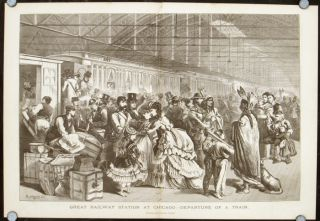 Great Railway Station at Chicago - Departure of a Train. ILLINOIS - CHICAGO - 1870s RAILROADS.
