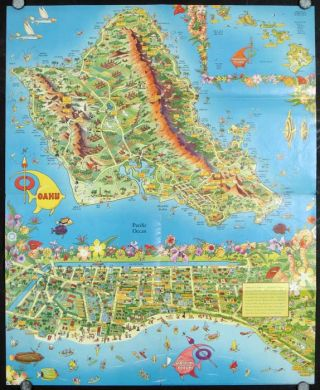 A Pic-Tour Map Honolulu Waikiki and 'Round the Isle of Oahu. HAWAII - HONOLULU.