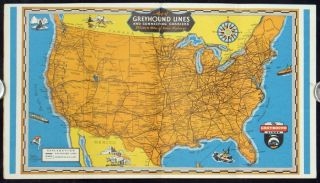 Down the Highway By Greyhound. World's Largest Motor Bus System. UNITED STATES - GREYHOUND