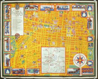 Map of Mexico City and Valley. MEXICO - MEXICO CITY