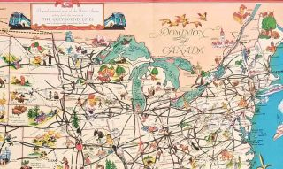 A Good Natured Map of the United States - and a guide to the Wonderful West. Compliments of Greyhound and Union Pacific Stages. Map title: A good-natured map of the United States setting forth the services of The Greyhound Lines...