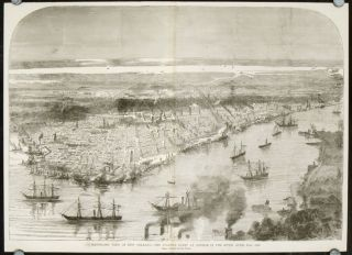 Panoramic View of New Orleans. - The Federal Fleet At Anchor in the River, April 25th, 1862....
