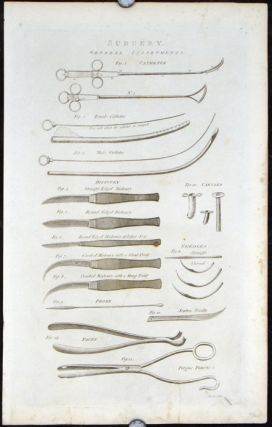 Surgery. THREE ENGRAVINGS. MEDICAL - SURGICAL INSTRUMENTS.