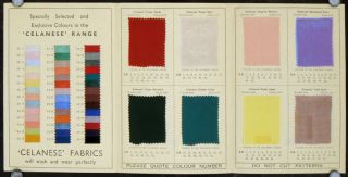 "Famous ""Celanese"" Fabrics as featured in Barkers. FASHION - 1937 DECO FABRIC SAMPLES."