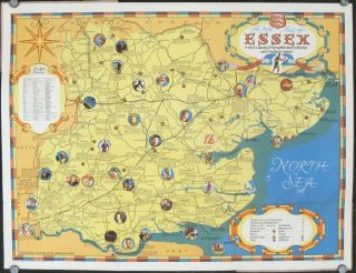 A New Pictorial Map of Essex containing much of historical and traditional interest. Map title: A...