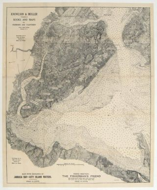Fishing Map of Staten Island Waters. Depths of Water Channels and Bars Fishing Holes (pamphlet...