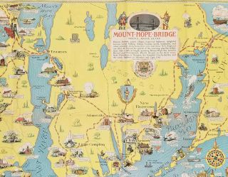 Newport and the historic Island of Rhode Island. On the Scenic Route to Sakonnet Cape Cod and New England's Greatest Seashore Resorts. (Map titles: Mount Hope Bridge, Bristol Rhode Island / Newport's Famous Ten Mile Drive Along the Ocean Front).
