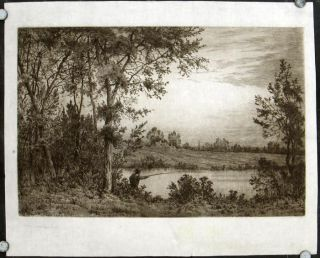 Untitled etching of man fishing in a pond. HENRY FARRER.
