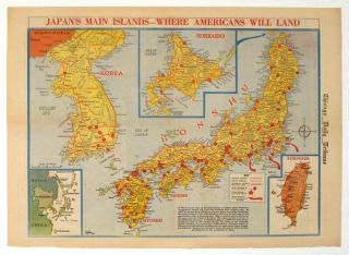 Japan's Main Islands - Where Americans Will Land. Chicago Daily Tribune, August 1945. JAPAN / WORLD WAR II.