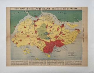 New Map of Singapore Island - Besieged by Japanese. Chicago Daily Tribune, Monday, February 9,...