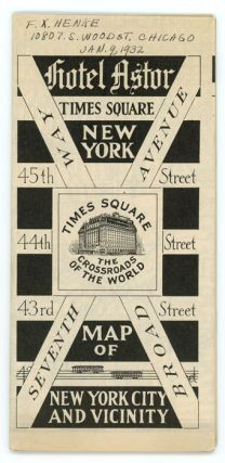 Transit, Street and Recreation Map New York City Issued By Hotel Astor, Times Square, New York.