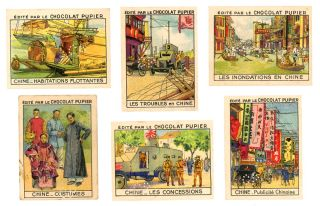 Chine - set of eighteen French Trade Cards. Edite par le Chocolat Pupier. CHINA / CHROMOLITHOGRAPHS / TRADE CARDS.