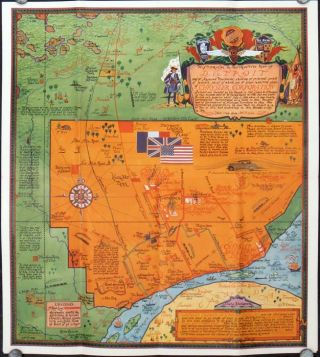 A Cordial Welcome to Detroit. Map title: Historical and Instructive Map of Detroit. MICHIGAN -...
