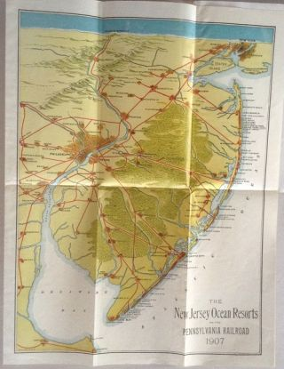 Summer Excursion Routes and Rates 1907. Map title: The New Jersey Ocean Resorts on the...