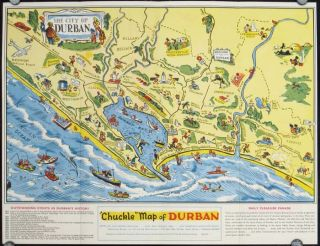 "Durban South Africa ""Chuckle"" Map and Guide. SOUTH AFRICA - DURBAN"