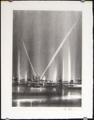 Untitled lithograph (sky illuminated by spotlights). RICHARD FLORSHEIM.