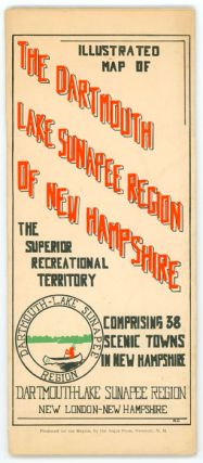 Illustrated Map of the Dartmouth Lake Sunapee Region of New Hampshire.